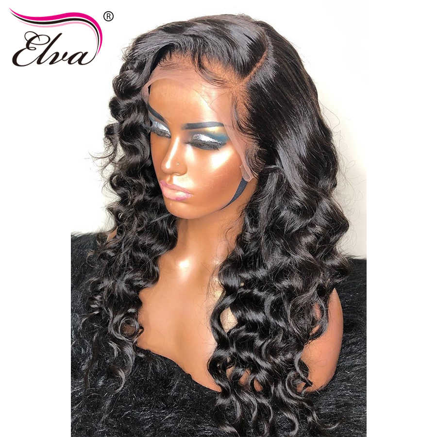 "Loose Wave 360 Lace Frontal Wig Pre Plucked With Baby Hair Brazilian Human Hair Wigs For Women Elva Remy Hair Lace Wig 10""-24"""