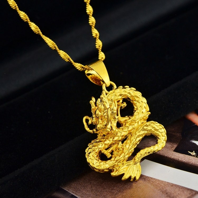 Lucky Monkey Pendant Necklace Chain Unisex 24K Yellow gold Filled Jewelry Gift