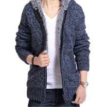 New Winter Mens Velvet Sweaters Men Thick Long sleeve Wool Cardigan Men Sweater Jacket Casual Zipper Knitted sweater Clothing