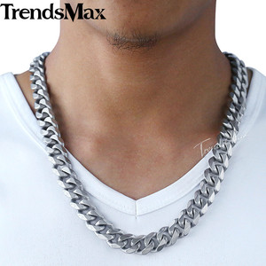 Image 3 - Trendsmax Matte Brushed Polished Necklace Mens Chain 316L Stainless Steel Cut Curb Cuban Link Silver Color Tone 15 mm KHNM18