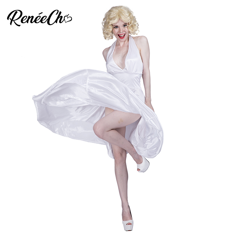 Halloween Costumes For Women Marilyn Monroe Costume Sexy White Halter Dress Movie Hollywood Star Cosplay For Carnival Party