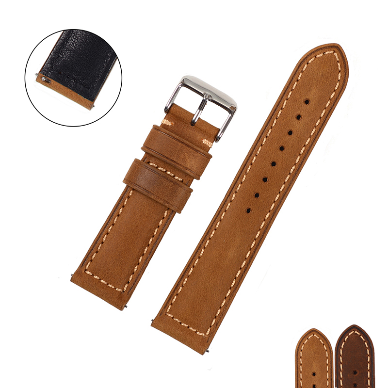 EACHE 20mm 22mm Genuine Leather Watchband with Retro Matte leather Watch band Crazy Horse Watch Strap Quick Release Spring bar eache 26mm hand made crazy horse genuine leather replacement watch band strap fit for garmin fenix 3 silver black buckle