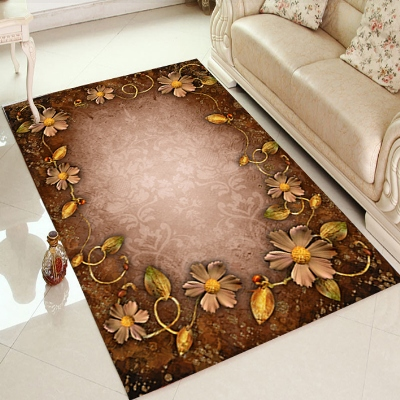 Else Brown Floor On Golden Yellow Flower Floral 3d Print Non Slip Microfiber Living Room Decorative Modern Washable Area Rug Mat