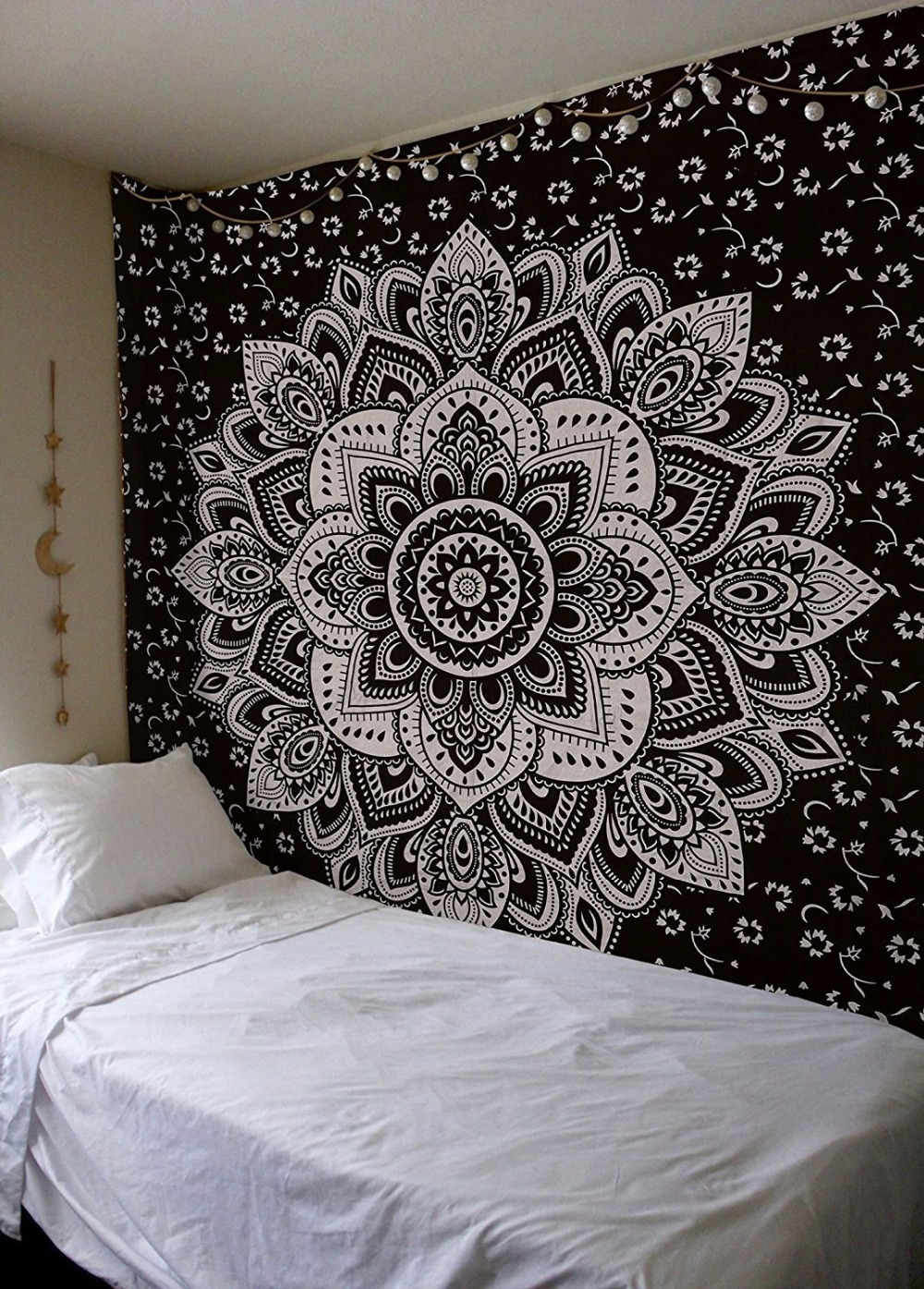 Home Decor wall Tapestry Mandala Floral Art Hanging Tapestry Black And  White Blue Indian Boho Wall Hippie Tapis Carpet Sheet-in Tapestry from Home    Garden ... a2efed2b1
