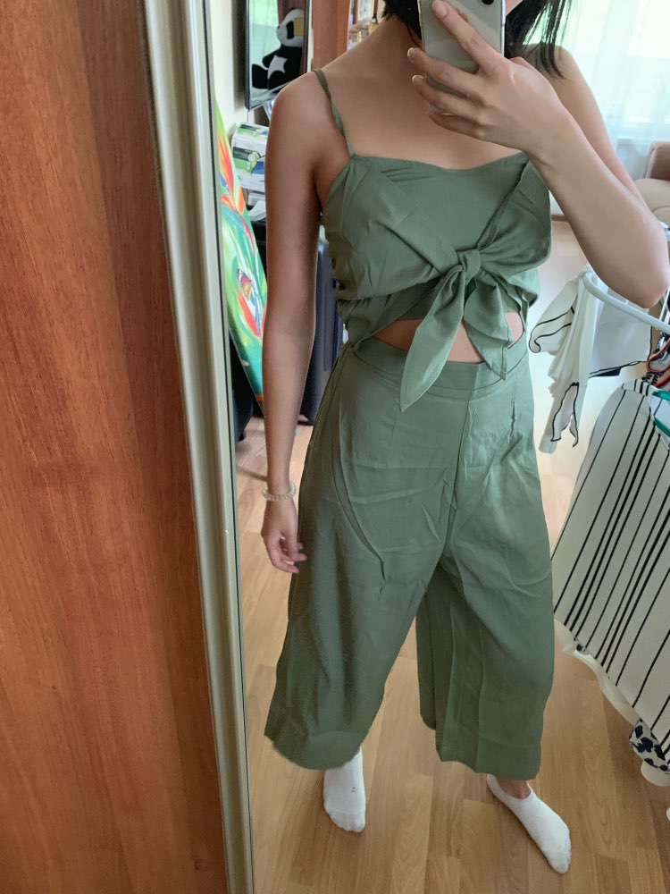 Army Green Knotted Front Shirred Back Cami Women Jumpsuit Boho Solid High Waist Cut Out Wide Leg Sexy Jumpsuit photo review