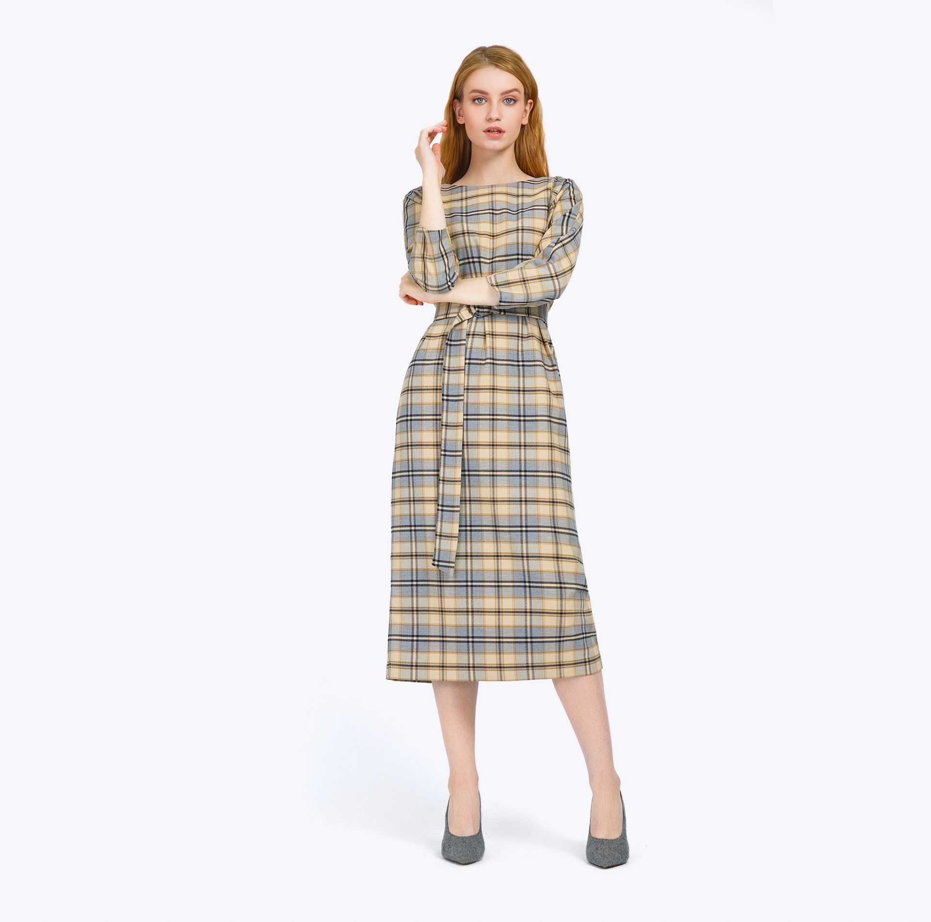 Midi dress plaid self belted button up plaid print dress