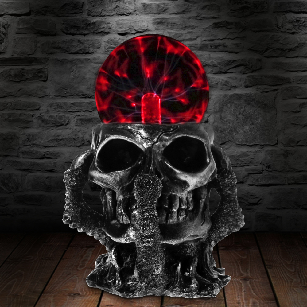 Black Skull Hand Tesla Glass Plasma Ball Resin Lighting Lamp Party Magical Party Magical Ball Electrostatic Falshing Ball Gift