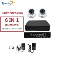 6IN1 4CH 1080N AHD DVR KIT 1080P Plastic Dome Indoor Security Camera Use 1080P 3 6MM