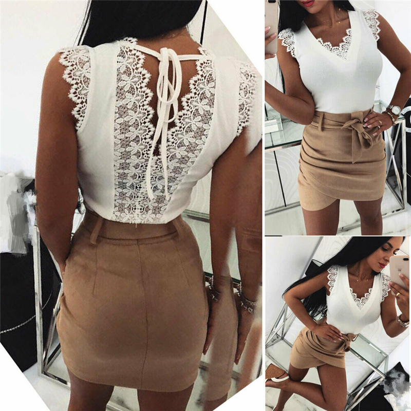 Womens   Tanks     Top   V-Neck Lace T-shirt Blouse Ladies Summer Sleeveless Sexy Vest Camisole White and Black Fashion Clothing 2019