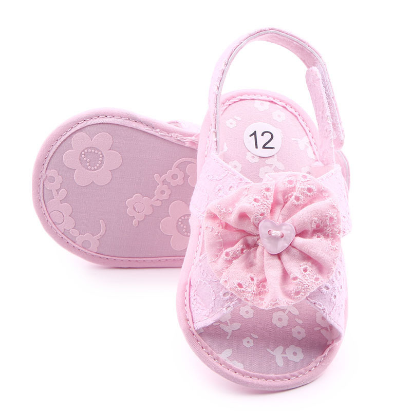 Baby Girls Shoes Newborn Lace Flower Soft Sole Sandals First Walker Beach Shoe