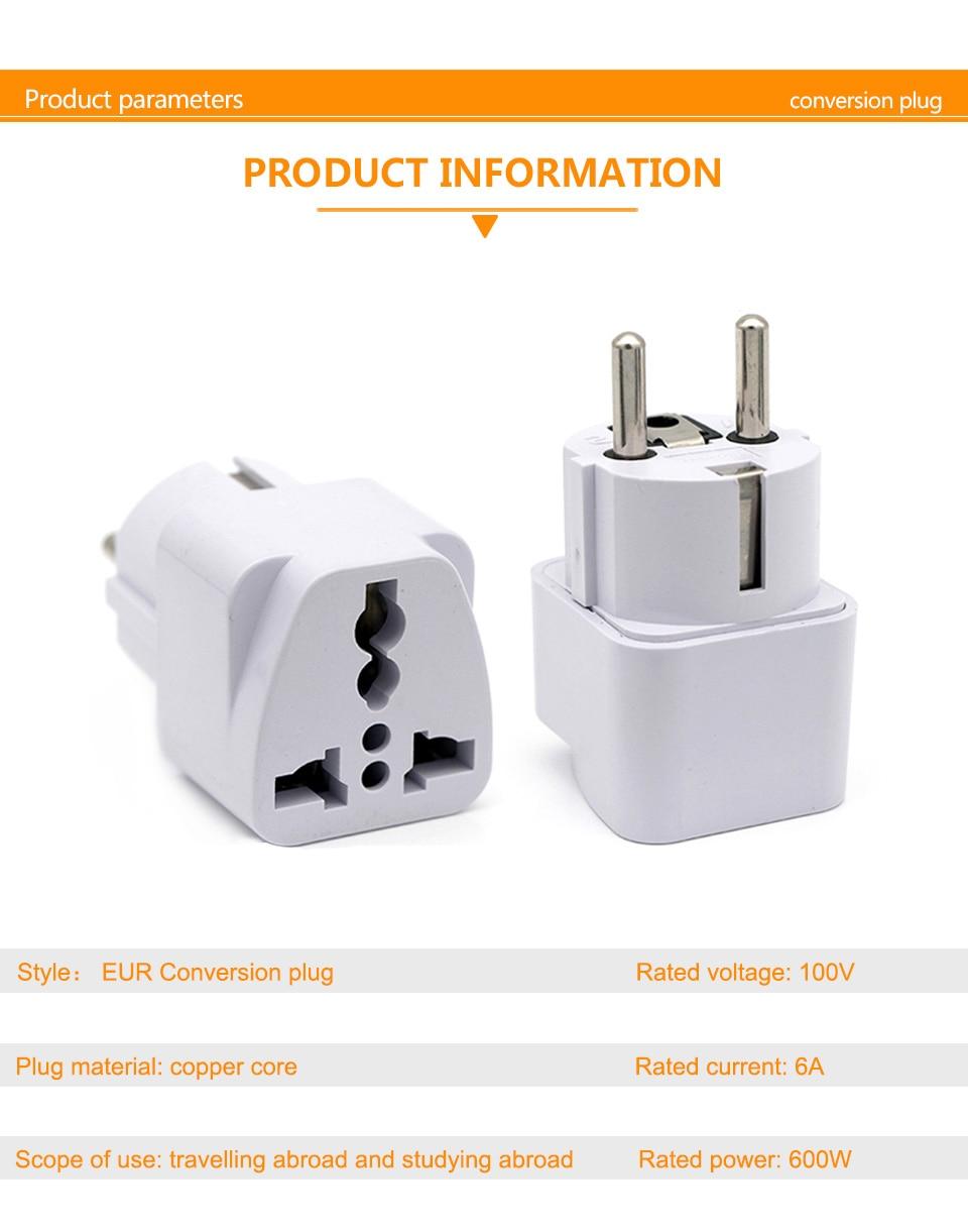 European EU Plug Adapter Japan China American Universal UK US AU To EU AC Travel Power Adapters Converter Electrical Charger (4)