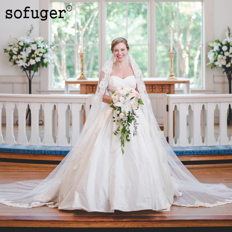 Plus White Satin Weddding Dresses Pleat Sweetheart Beading Sash Bridal Gown Long Wedding Vestidos De Noivas Custom Plus