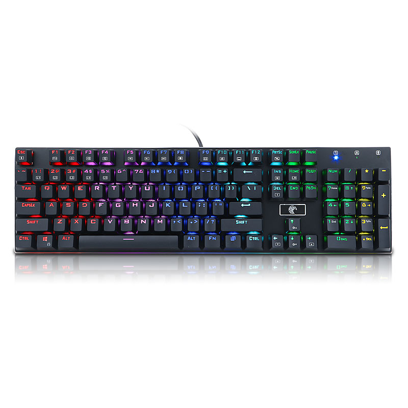 все цены на Full Size Gaming Slim 104 Keys USB Wired Mechanical Keyboard RGB Backlit Blue Switch Gaming Keyboard For PC Laptop Computer Game онлайн