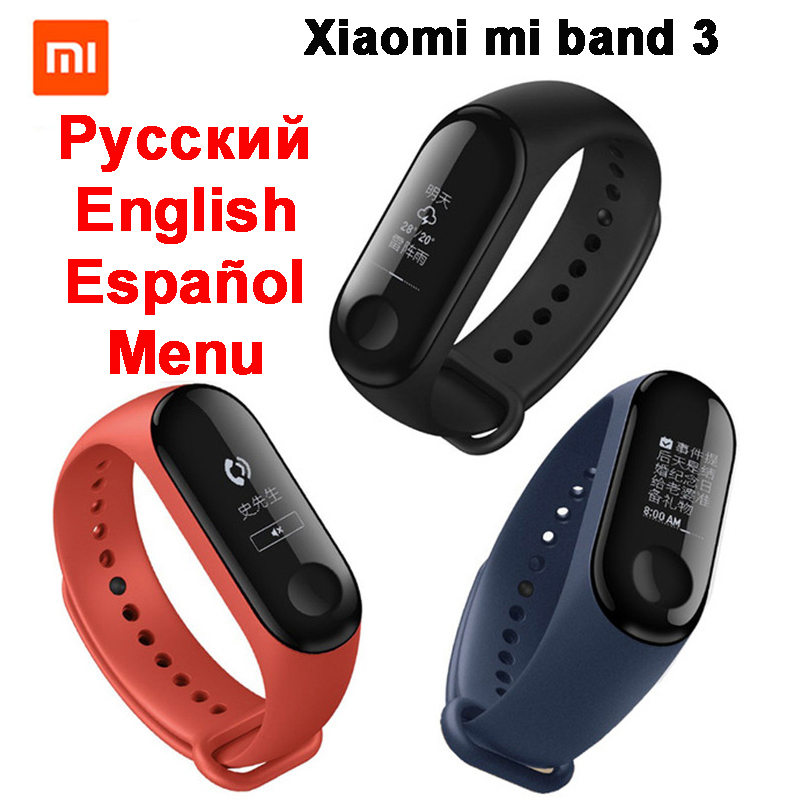 2018 New Original Xiaomi Mi Band 3 Miband 3 With Passometer Heart Rate 5ATM 50M Waterproof Smart Band Xiaomi mi Band 2 Upgraded