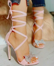 Women High Heel Sandals Pink Butterfly-knot Sandals Gladiator Women Peep Toe Narrow Band Party Shoes Back Lace Up Plus Size 46
