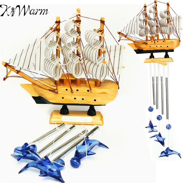 KiWarm 4 Tube Sailing Boat Dolphin Bells Wind Chimes Ornaments For Church Outdoor  Garden Yard Home