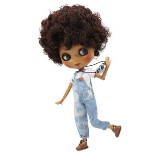 Blyth 30cm Doll Joint Body 1/6 Short Curly Black mix Brown Hair Dark Skin glossy face bjd toy DIY with hand A&B No. 130BL910362(China)