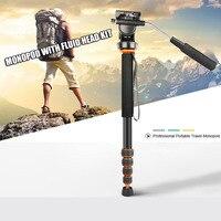 Aluminum Professional Portable Travel Monopod Video Monopod With Fluid Head For Canon Nikon Sony Video Camera