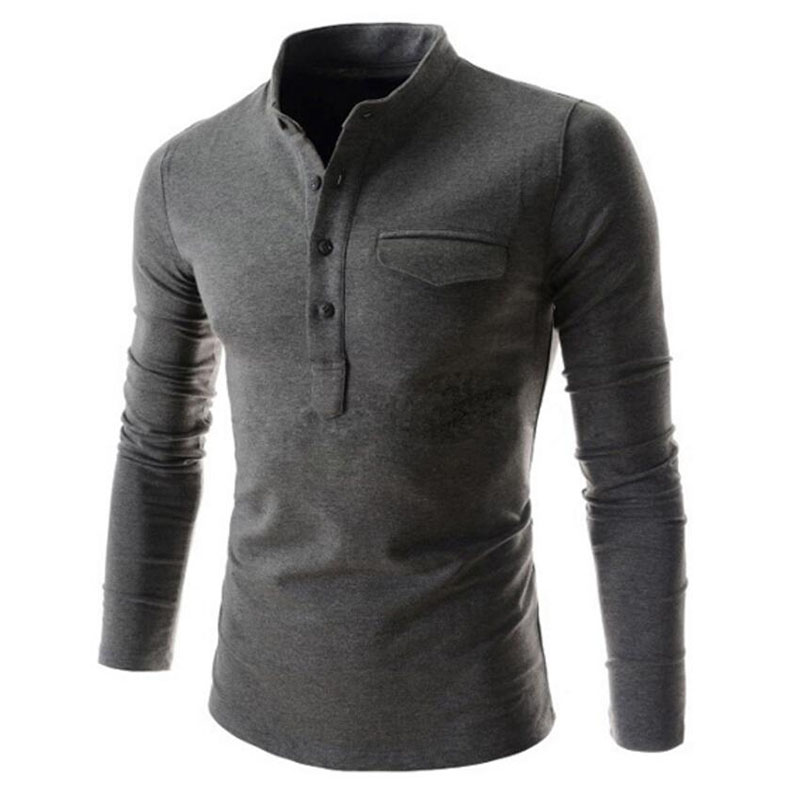 Mens polo shirt 2017 autumn fashion brand 6 colors casual for Mens sweater collared shirt