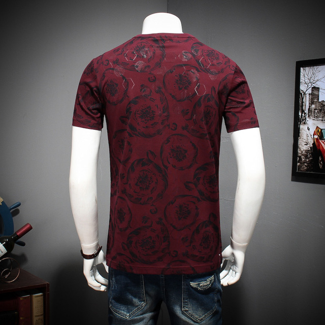 2018 8xl 9xl Summer Mens Casual T Shirts Black Flower Print Brand Clothing For Man's Short Sleeve Loose T-Shirts Male Tops Tee 1