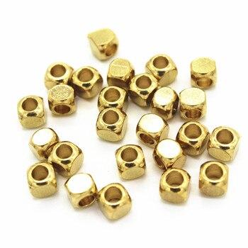 100 Uds 2,5mm 3mm 4mm 5mm 6mm Metal crudo latón cuadrado agujero de cuentas espaciador cuentas tubo abalorios DIY Beads para la fabricación de joyas