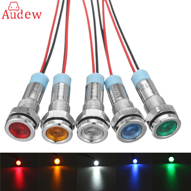 6mm 220V LED Metal Indicator Pilot Dash Light Lamp With Wire Leads