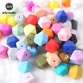 Baby Silicone Beads 17mm 50pc Silicone Geometric Teether Beads Baby BPA Free Teether Octagonal DIY Necklace Baby Teething Beads