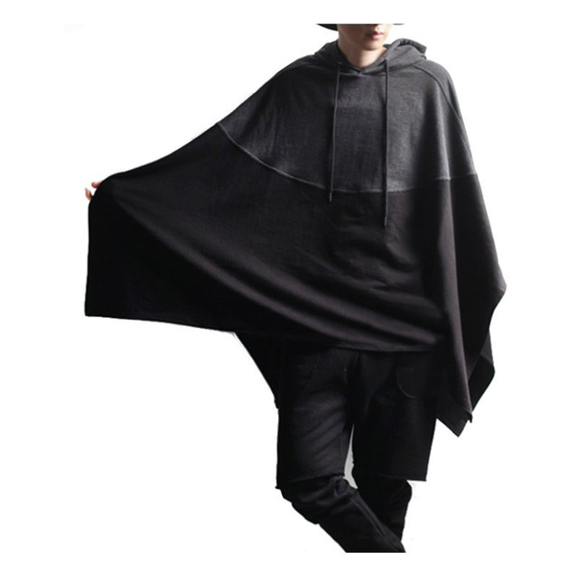 US $25 45 |Chic New Magician Poncho Hoodie 2018 Autumn Men Cotton Hooded  Sweatshirt Pullover Color Splice Casual Party Male Cloak Cape Coat-in  Hoodies