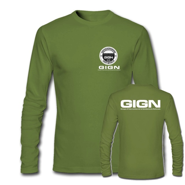 5950cc153 New France French Special Elite Police Forces Unit GIGN Raid BRI Black  Men's Long Sleeve T Shirt Military Army Green t shirts