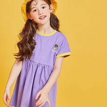 Girls cotton fashion cute sport spring and summer baby long T-shirt lovely straight purple crew neck dress on sale 190028