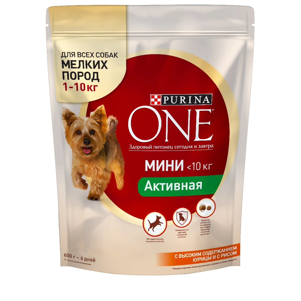 Dry dog food of small breeds Purina One Mini Active, with chicken and rice, 4.8 kg. corn puffing machine rice snacks food puffed extrusion machine