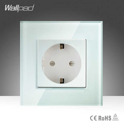 Hot Selling Wallpad Luxury Tempered Glass EU European Standard 16A Plug  Wall Socket