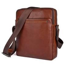 Купить с кэшбэком Men's Small Ipad Bag Cow Leather 2018 Man Brown High Quality Cowhide Sling Crossbody Shoulder Messenger  Casual Travel Bags
