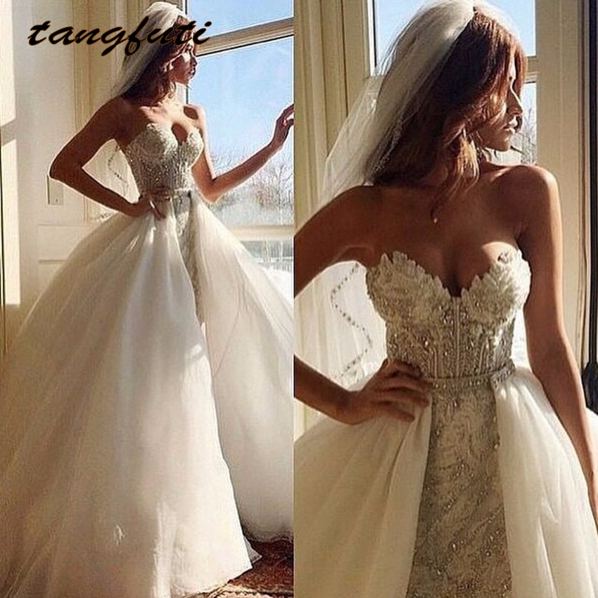 2 Piece Detachable Skirt Wedding Dress With Detachable Train Luxury Crystal Beaded Lace Wedding Gowns abiti