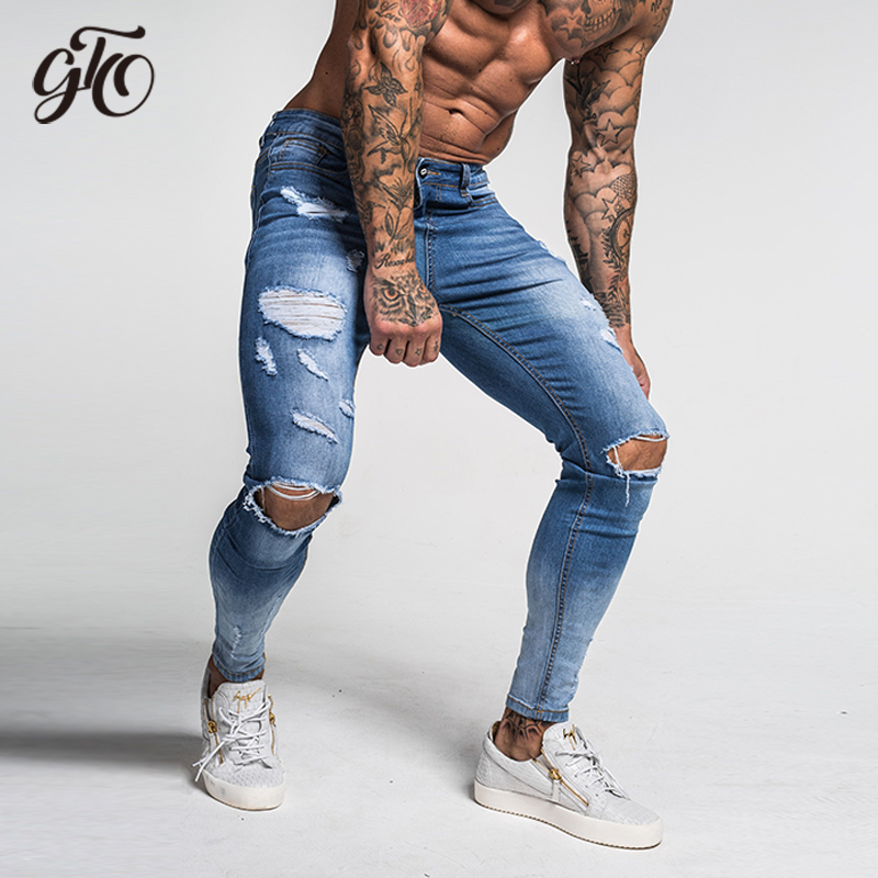 Gingtto Ripped Jeans For Men Fashion Designer Style Ankle Tight Super Skinny Fit Cotton Comfortable Plus Size Light Blue Zm39
