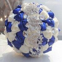 로얄 블루 아이보리 크리스탈 파란색 리본 던져 웨딩 꽃