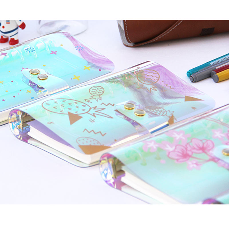 Y Planner Time A5 A6 Notebook Shell Colorful PVC Transparent Book Spiral Binder Replacement Cover 6 Hole Loose Leaf Notepad S a5 a6 a7 pvc 6holes spiral shell cover notebook diary notepad sheet sheel protector loose leaf