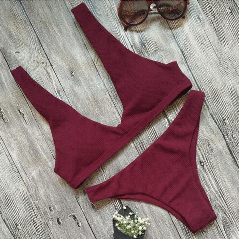 17 Summer Women Bandage Bikini Set Swim Clothes Push-up Padded Bra Swimsuit Bathing Suit Swimwear 2
