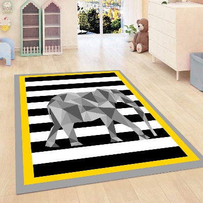 Else Yellow Black White Lines Gray Elephant Boy Kid Room 3d Print Non Slip Microfiber Children Kids Room Decorative Area Rug Mat