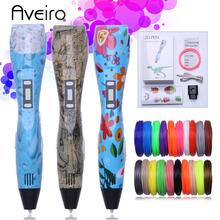 Original 3d pen 3d printing drawing pen DIY 3 d Printer pens with 10/200 Color 100/200 meter pla plastic for kid birthday gift