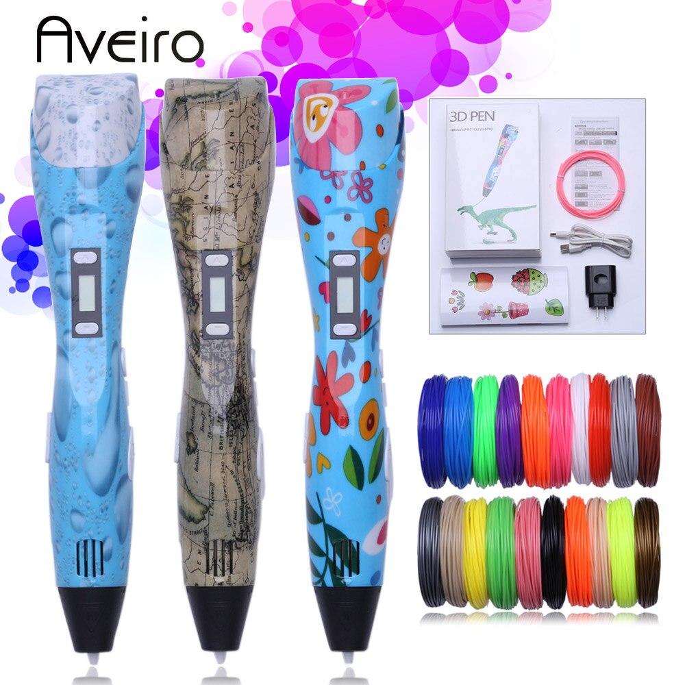 Original 3d pluma 3d impresión pluma de dibujo impresora 3 d DIY plumas con 10 Color 20 colores 100/200 medidor de pla de plástico para chico regalo
