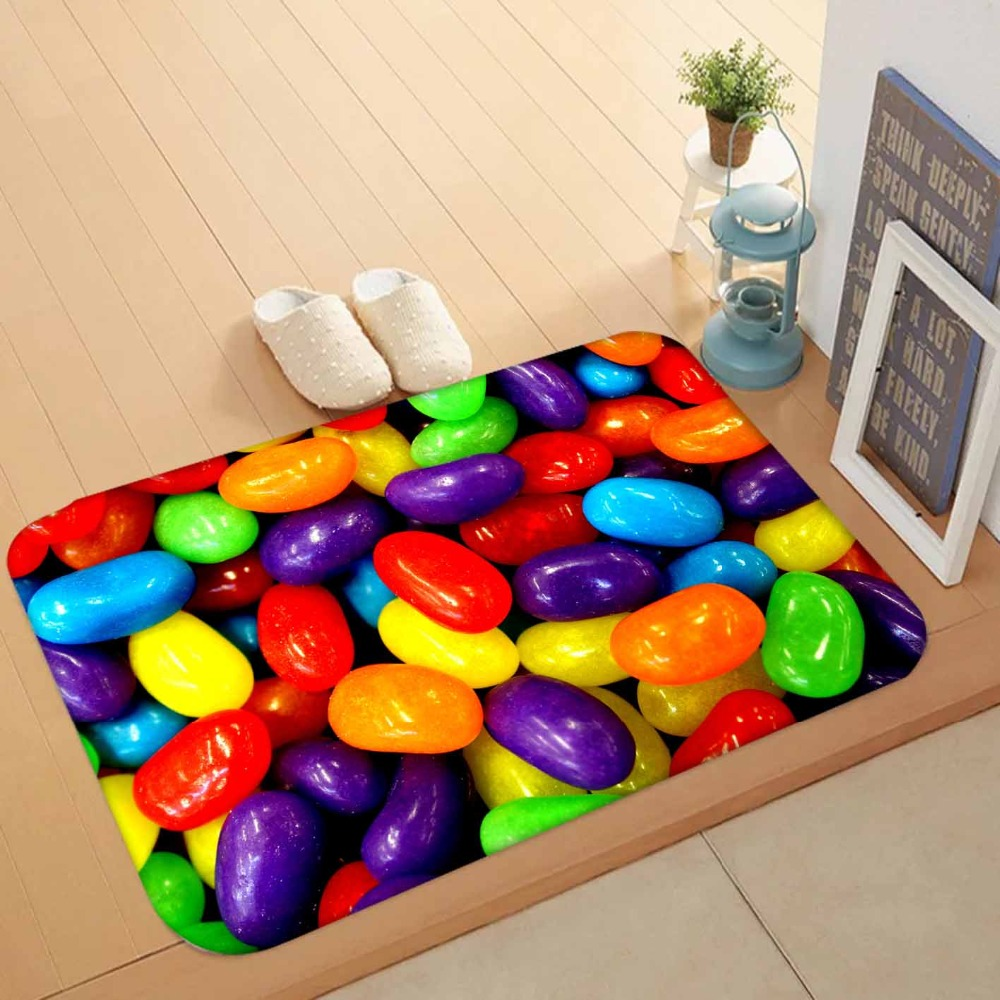 Else Green Red Yellow Orange Sweets Candy 3d Pattern Print Anti Slip Washable Doormat Home Decor Entryway Kitchen Mat