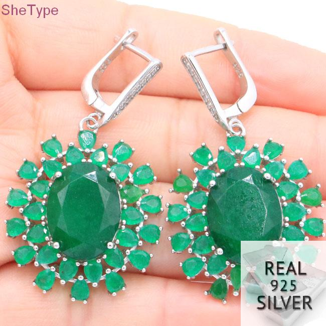 SheType Big Heavy 11 86g Real Green Emerald CZ Gift Girls 925 Solid Sterling Silver Earrings