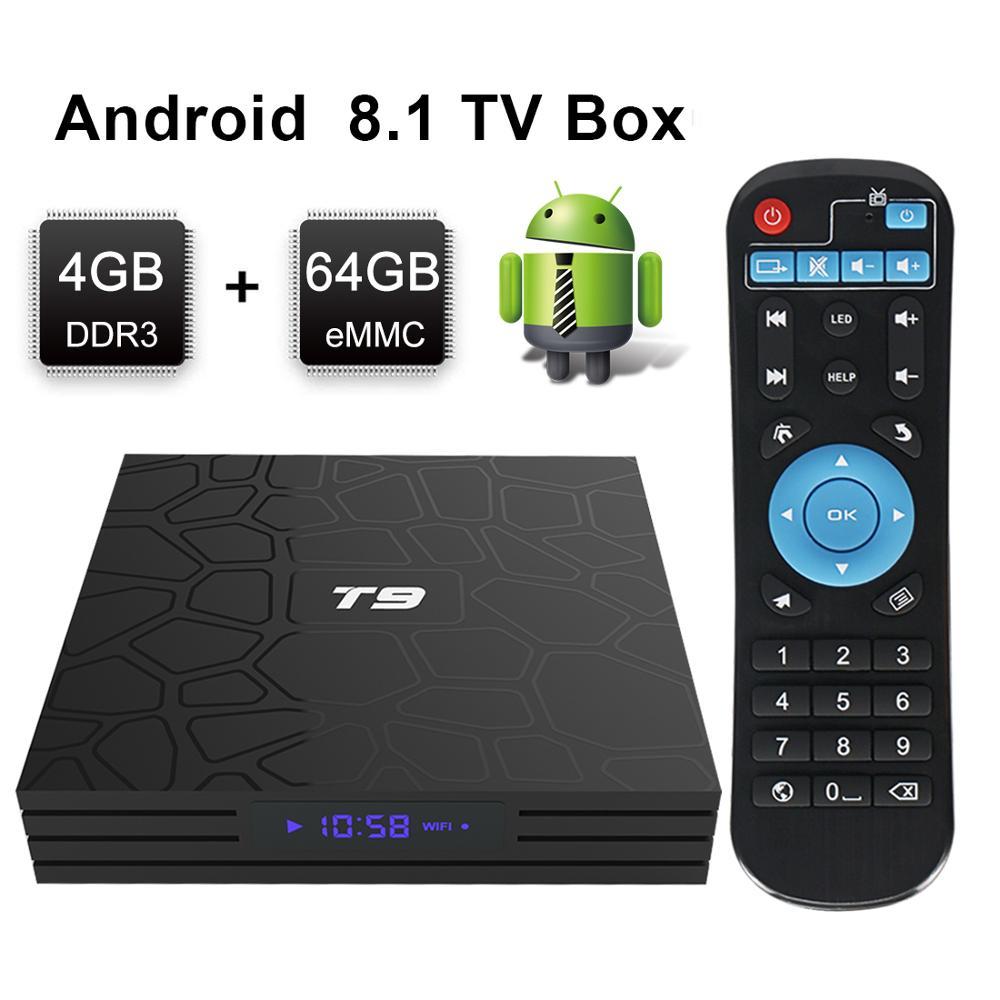 Leelbox T9 Smart Android 8.1 TV Box 4 GB 64 GB RK3328 Quad-Core 2.4G Wifi décodeur 1080 P HD Support 3D film lecteur multimédia