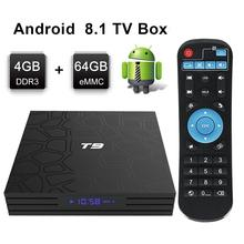 Leelbox T9 Smart Android 8.1 TV Box 4GB 64GB RK3328 Quad-Core 2.4G Wifi Set Top Box 1080P HD Support 3D movie Media player недорого