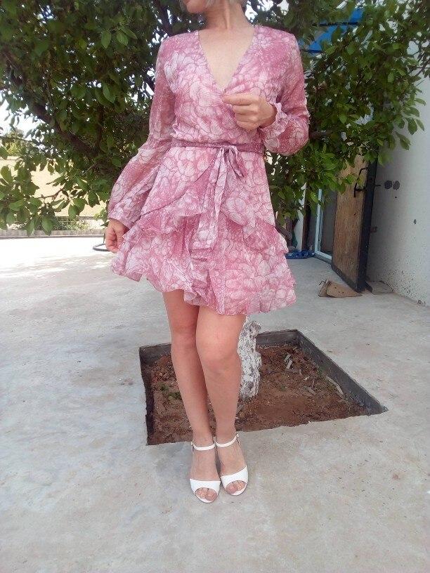 Vintage Print Summer Dresses Female Elegant Party Short Dress Bow Sexy Ruffles Chiffon Dress Women Vestidos 2 Colors photo review