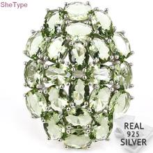 7.75# SheType 8.1g Green Amethyst Woman's Real 925 Solid Sterling Silver Ring 36x27mm цена