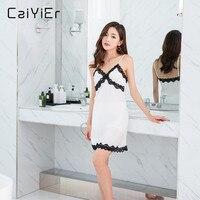 Caiyier Lace Nightgown White Black Sexy Patchwork Nightdress Women Female Pink Nightwear Silk Slip Sleepwear Chemises LL3939