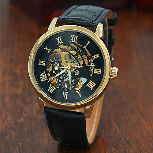 2017 Skeleton Mechanical Watch Luxury Men Black No Waterproof Fashion Casual Brand Sports Watches Relogios Masculinos