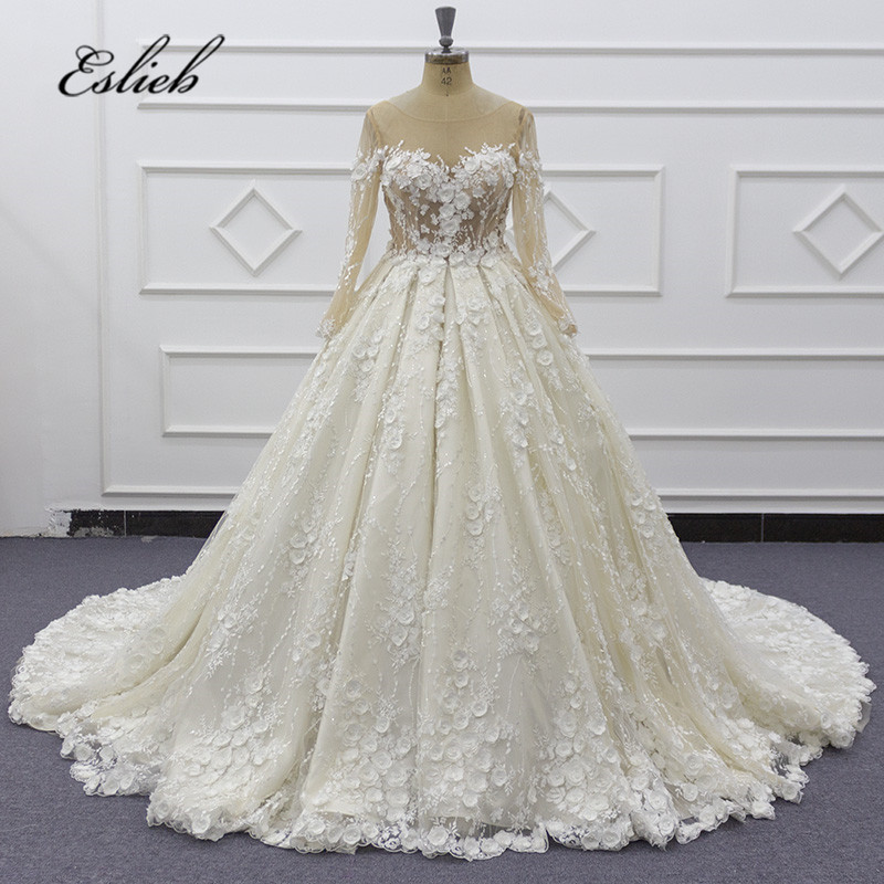 Eslieb High end Custom made 3d flower lace Wedding dress 2019 Wedding dresses
